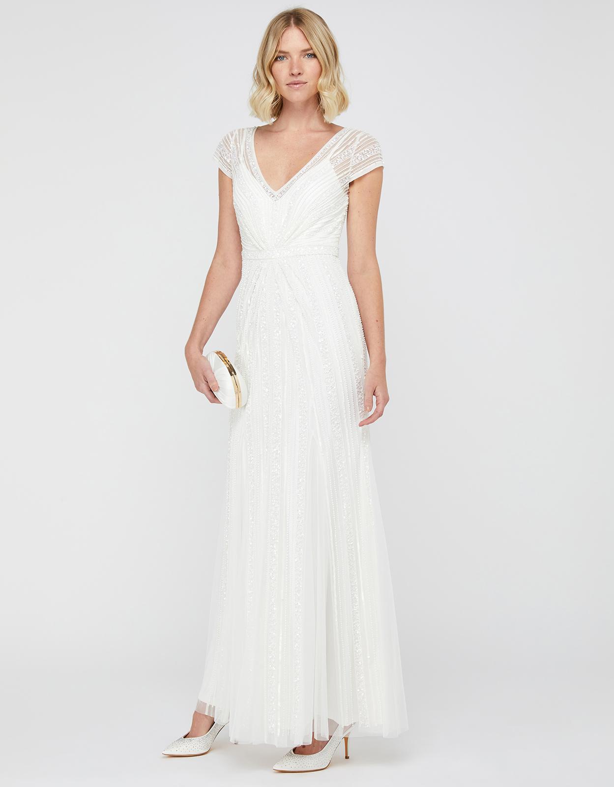 Monsoon Nora Embellished Fishtail Bridal Dress Ivory